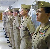 A STA-21 participant joins with her NROTC unit.